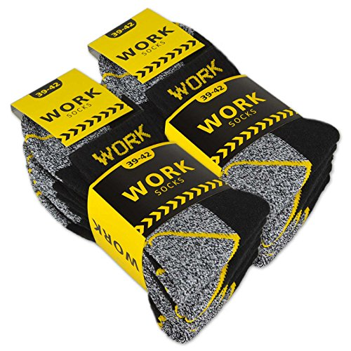 10 Paar Herren Arbeitssocken Kurzsocken Baumwolle WORK Socken (Schwarz/Grau meliert 43-46)