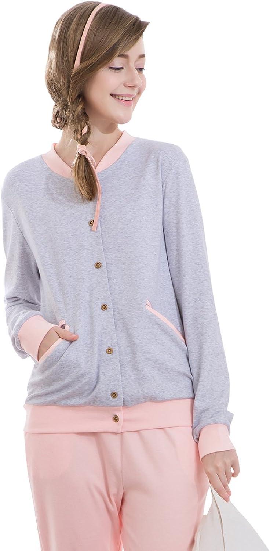 Women Comfortable Longsleeve Pajamas With Trousers Cute Soft Sleepwear