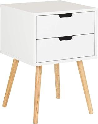 Stylehome® Nachttisch Weiß Nachtschrank Beistelltisch mit Schublade Nachtkonsole