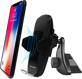 Car Wireless Charger Phone Mount, 10W Qi CD Slot Wireless Charger Phone Holder, Air Vent Fast Wireless Charging Car Mount for iPhone Samsung and All Qi-Enabled Devices
