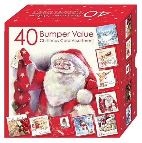 Tarjetas de felicitación navideñas - carcasa 40 tarjetas de Navidad caja de varios colores - 10 Designs suave y tradicional