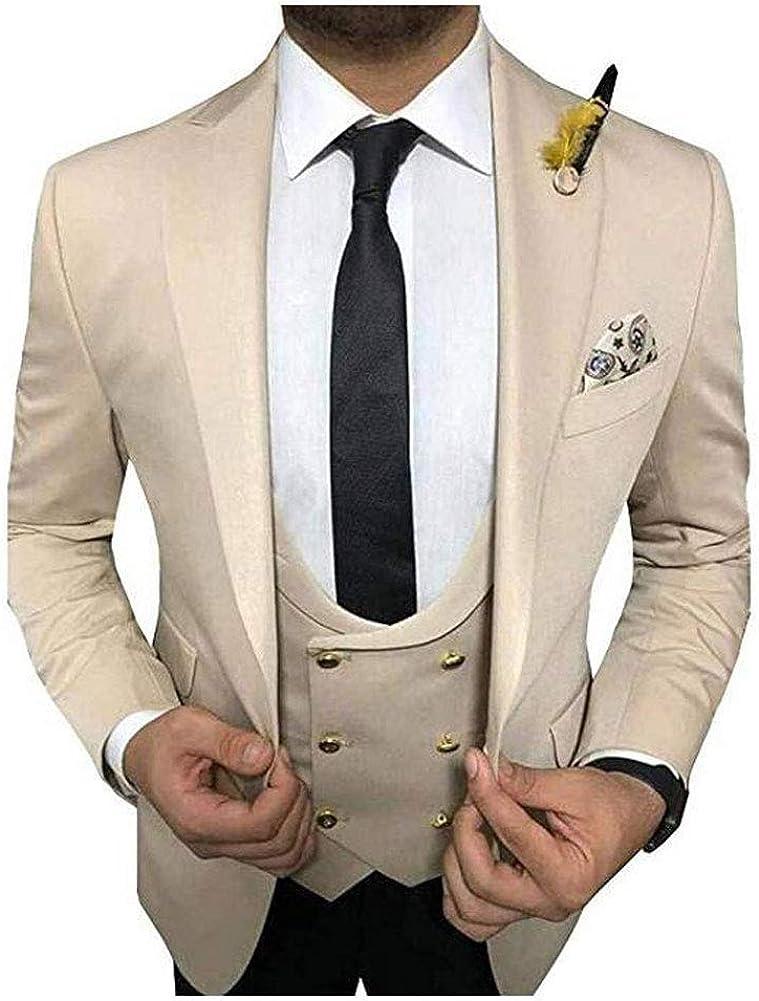 Men's 3 PC Slim Fit Beige Wedding Suits Peak Lapel Groom Tuxedos Business Suit Casual Suits