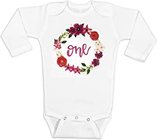 Girls 1st Birthday Bodysuit Watercolor Floral 1st Birthday Girl Outfit