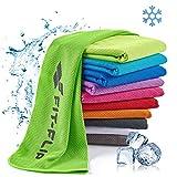 Fit-Flip Kühlendes Handtuch 100x30cm, Mikrofaser Sporthandtuch kühlend, Kühltuch, Cooling Towel, Mikrofaser Handtuch, Farbe: neon grün, Größe: 100x30cm