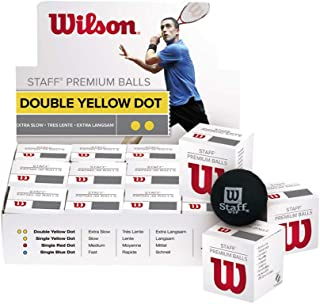 Wilson Staff Tennis Double Yellow Dot Squash Ball, 12 Piece