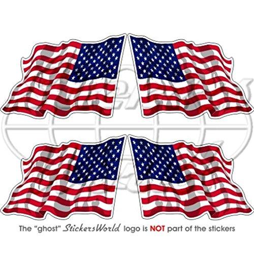 Agiter United States Amérique USA drapeau américain 5,1 cm (5 cm) bumper-helmet en vinyle autocollants, Stickers x4