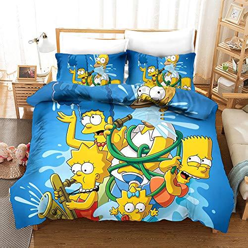 SSIN-The Simpsons - microfaser bettwäsche,Bettwäsche-Sets 3D Simpsons Anime Printed Kind Erwachsene Bettwäsche Aus (01,135x200cm)