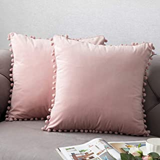 Throw Pillow Covers with Pom-poms, 2 Pack Super Soft Velvet Decorative Pillow Cases, Luxury Accent Rectangular Pillowcases, Square Cushion Covers for Farmhouse,Couch,Sofa, 16x16 Inch, Baby Pink