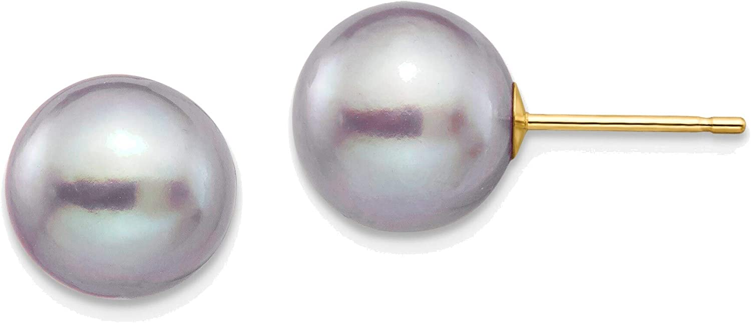 9-10mm Grey Round Freshwater Cultured Pearl Stud Post Earrings in 14K Yellow Gold