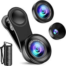Criacr Phone Camera Lens, 3 in 1 Cell Phone Lens Kit for iPhone, Samsung, 180°Fisheye Lens, 0.6X Wide Angle Lens, 15X Macr...