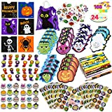 168 Pcs 24 Pack Assorted Halloween Art and Craft Stationery Kids Gift Set Trick or Treat Party Favor Toy Including Halloween Bag, Notepads, Stamps, Pencils, Stickers and Temporary Tattoos
