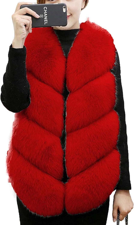 JOEupin Women's Warm Long Faux Fox Fur Vest Waistcoat Sleeveless Vest Jacket Warm Faux Fur Coat Outwear