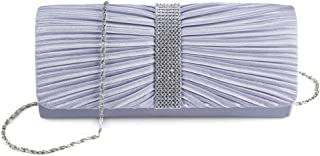 Evening Bag——Women's Pleated Rhinestone Evening Bag, Handbag, Crossbody Bag, Chain Bag, Banquet, Party, Cocktail Party (Color : Purple)