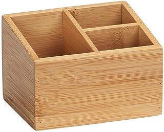 WENKO Organiseur en bambou Terra avec 3 compartiments - Boîte de rangement, panier de salle de bain, Bambou, 12 x 8.5 x 9 ...