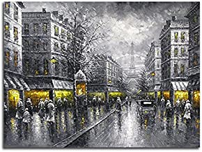 Wieco Art Paris Street View Extra Large Modern Giclee Contemporary Cityscape Artwork Decorative Landscape Oil Paintings Reproduction on Canvas Wall Art for Home Decorations Wall Decor 48x36inch