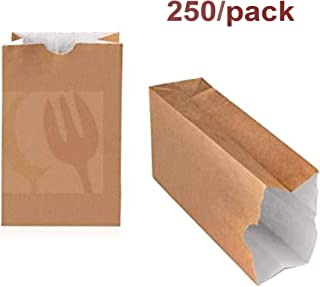 Paper Bags: Eco Friendly Lined, Grease Resistant Brown Kraft Bags - Takeout Bags - Paper Lunch Bags, Great For Fries, Nuggets, Donuts And More! (1lb) 250Pcs/Pack