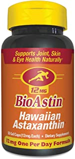 BioAstin Hawaiian Astaxanthin 12mg, 50 Count - Hawaiian Grown Premium Antioxidant - One per day - Sports Nutrition & Immun...
