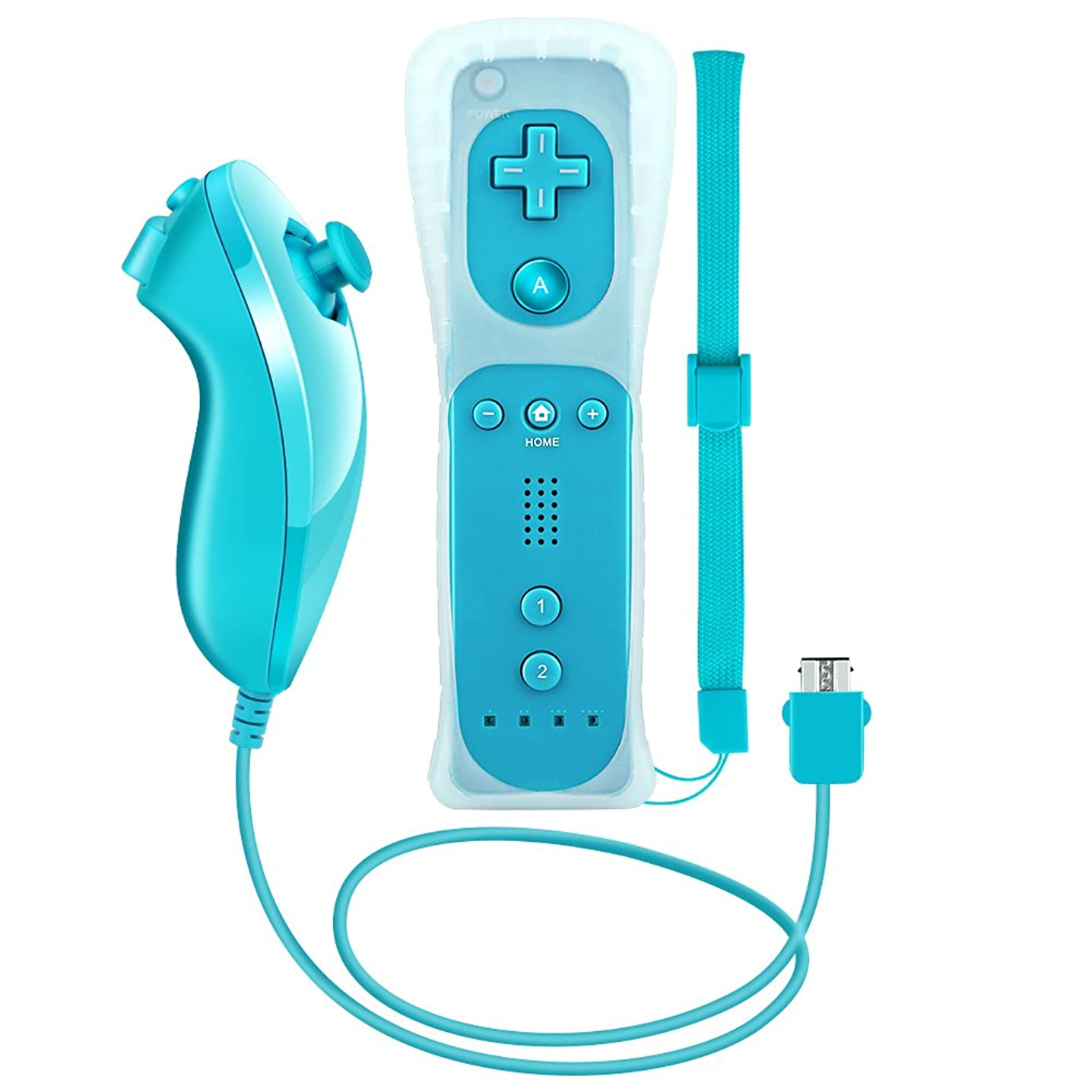 RC01 Wii Remote and Nunchuck Controller for Wii + Free Silicone case(Light Blue)