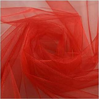 48cm5M Crystal Organza Tulle Roll Fabric for Draping Wedding Ceremony Party Home Decoration Year Decoration,Red