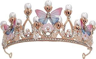 SOLUSTRE Girls Crown Bridal Crown Pearl Butterfly Tiara Headband Wedding Hair Jewelry Crown Party Tiaras