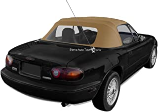 Sierra Auto Tops Mazda Miata, 1990-1997 Cabrio Vinyl Complete Convertible Top Replacement with Clear Plastic Window with Rain Rail, Light Tan
