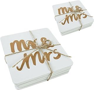 Roomando Juego de 8 posavasos Posavasos boda Pares Madera MR. & Mrs. 10 x