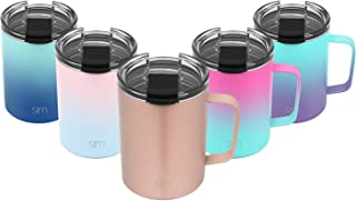 Simple Modern 12oz Scout Coffee Travel Mug Tumbler w/Clear Flip Lid - Cup Vacuum Insulated Camping Flask with Lid 18/8 Stainless Steel Hydro -Rose Gold