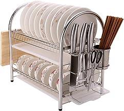 Tableware Storage, Drain Rack / 2-Tier Dish Drainer Rack Kitchen Storage Rack Drain Drying Rack Cutlery and Cutting Board Rack Stainless-Steel Silver 44cm ; 27cm ; 43cm