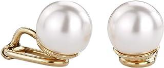 Traveller goudkleurige oorclips Ø 10 mm parel wit