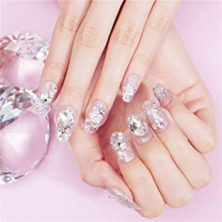 Barode False Nails Bling Sequins Rhinestone Pearl Full Cover Fake Nail Glitter Wedding Birthday Party Acrylic Nails for Women and Girls(24Pcs)
