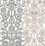 A-Street Prints 2821-25105 Lovebirds Light Pink Folk Stripe Wallpaper