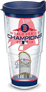 Tervis 1316163 MLB Boston Red Sox 2018 World Series Champions Wrap with Blue Lid, 24oz, Clear