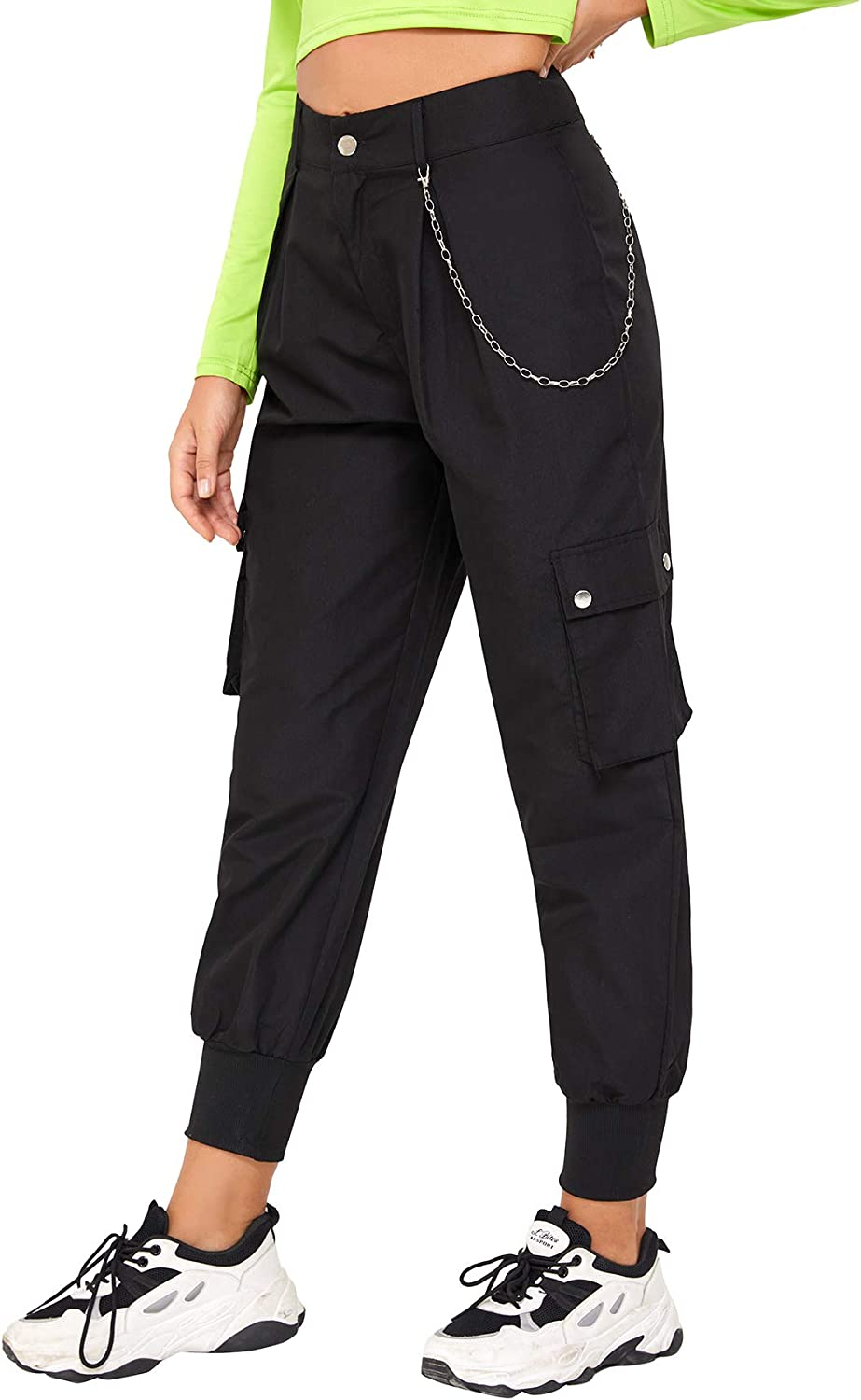 Milumia Women Casual High Waist Pocket Side Cropped Jogger Cargo Pants with Chain