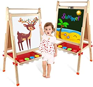 EAQ Easel for Kid,Height Adjustable Wooden Art Easel,Whiteboard Chalkboard with Paper Roll Holder,Letters and Numbers Magnets and Other Accessories Best Birthday Gift for Kids