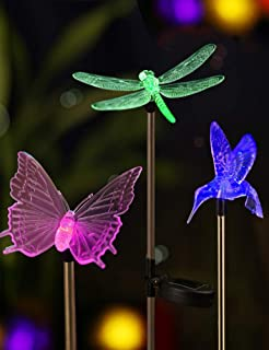Bright Zeal B3Z [Set of 3] LED Color Changing Solar Stake Yard Lights Outdoor - Solar Light LED Garden Decor Statues Butterfly/Dragonfly/Hummingbird - Patio Figurines Lights Landscape Dragonfly's