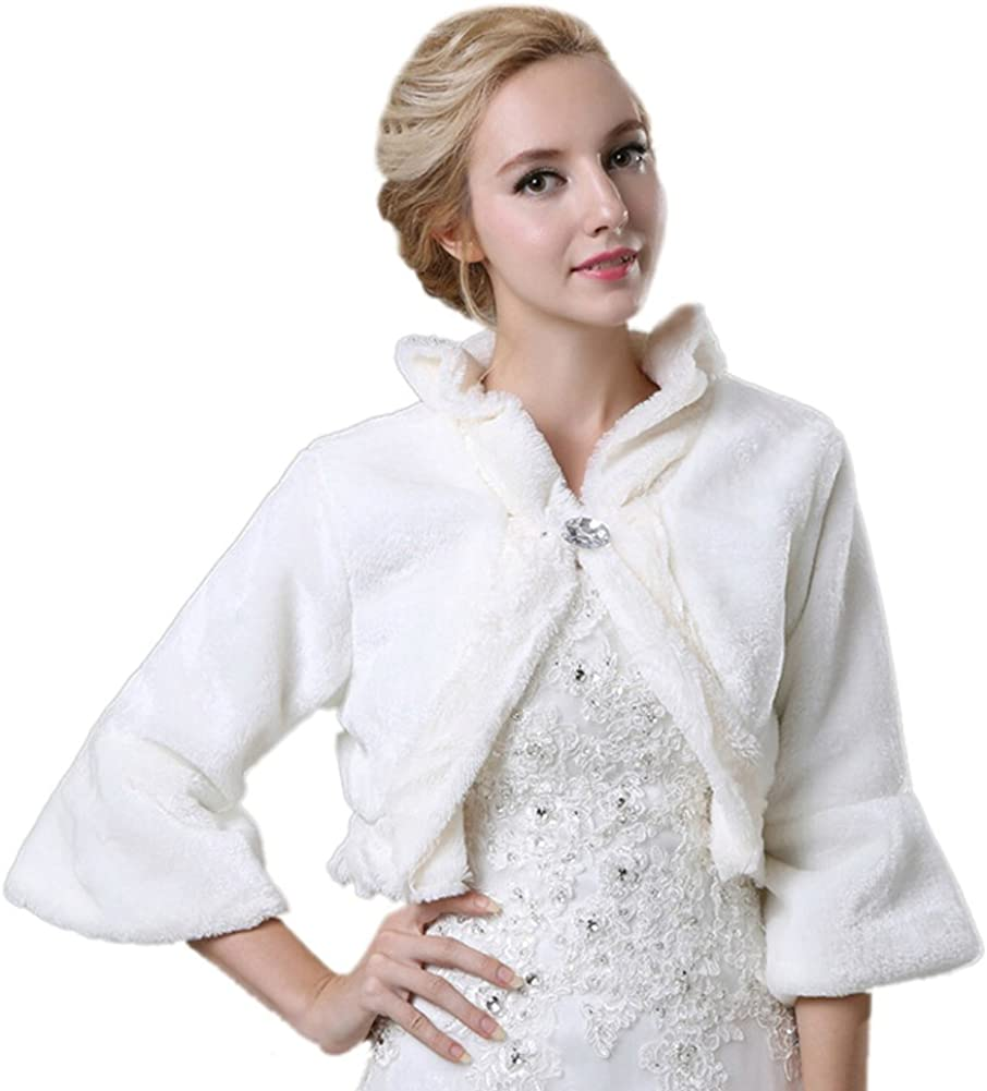 ICEGREY Women's Faux Fur Bride Wrap Wedding Party Dress Bolero Jacket Long Sleeve White