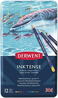Derwent Colored Pencils, Inktense Ink Pencils, Drawing, Art, Metal Tin, 12 Count (0700928)