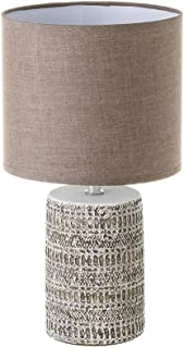 Lámpara de mesita de noche grabada shabby chic de cemento marrón de Ø 18x33 cm - LOLAhome