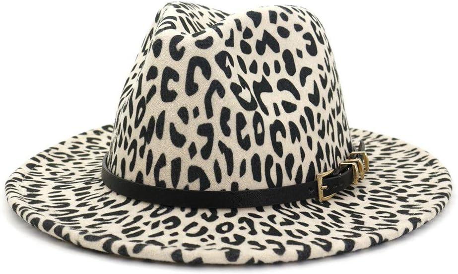 LHZUS Hats Women's Men's Fedora Hat Wide-Brimmed Wool Polyester Fedora Hat Leopard Print Church Party Jazz Hat Top Hat (Color : Cream, Size : 59-60cm)