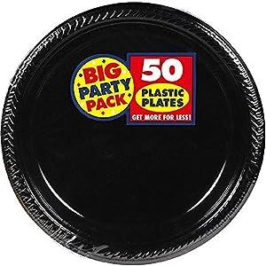 Big Party Pack Jet Black Plastic Plates   7