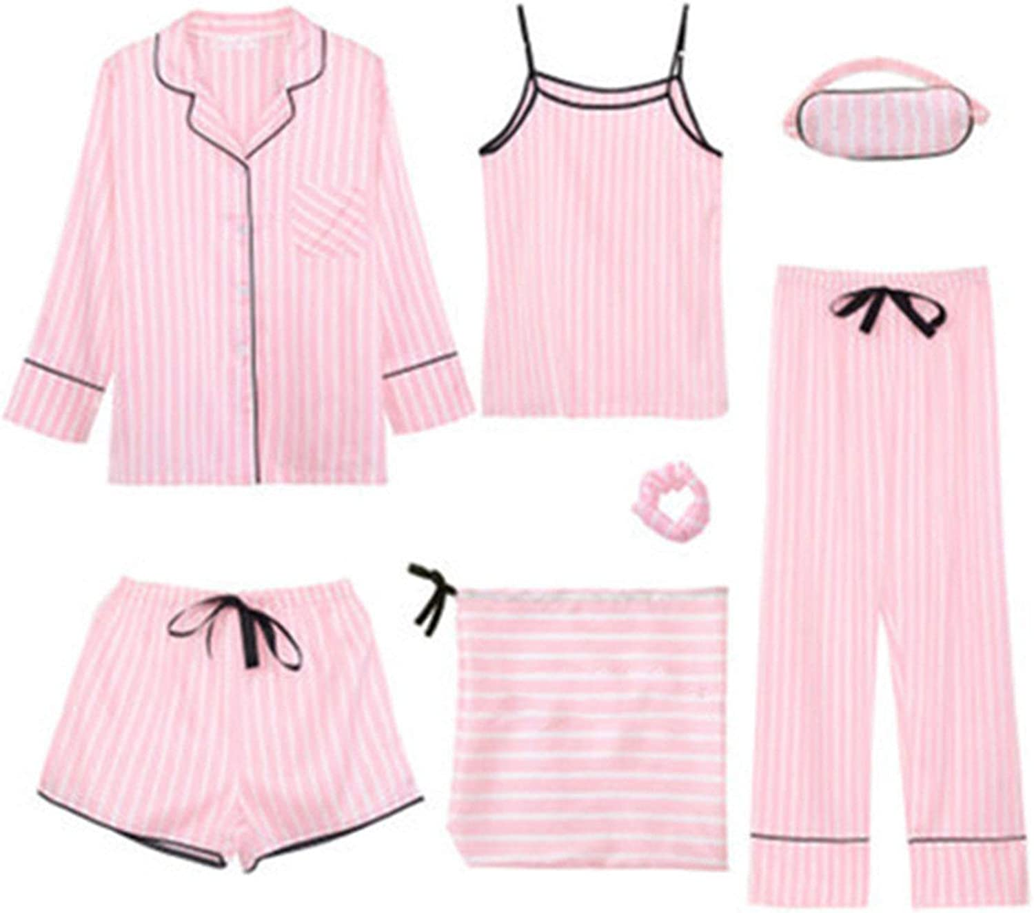100Expectations 7 Pieces Set Striped Pajamas Silk Satin Pajama Set Stitch Lingerie Robe Pyjamas