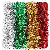 Gukasxi Guirnalda de Navidad para colgar en 4 colores para árbol de Navidad, decoración de invierno, fiesta, decoración de techo, 6.56 pies
