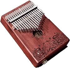 GQDZ 17 teclas de piano Kalimba Pulgar, pura madera de acacia, el tono hermoso, fácil de llevar, fácil de aprender, oscuro negro marrón claro, electro-acústica de sonido original, la última Piano pulg