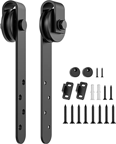 high quality HomLux Mini Barn Door Hardware Rollers Wheels lowest for Cabinet Doors - Smoothly and Quietly Closet discount Door Hangers - Simple and Easy to Install J Shape Hangers sale