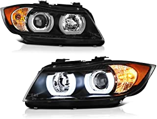 [For 2006-2008 BMW E90 E91 3-Series Adaptive AFS Xenon HID Model] OLED Neon Tube Black Projector Headlight Headlamp Assembly, Driver & Passenger Side