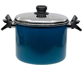 CHRISTIAN GAR Magefesa Olla Cuece Pasta 22 cm (Vitro, Inducción, Gas, Eléctrica) Acero INOX. Esmaltado Azul