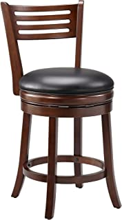 Ball & Cast Counter Height Swivel Barstool , 24-Inch,1-Pack, Cappuccino-open ladder back