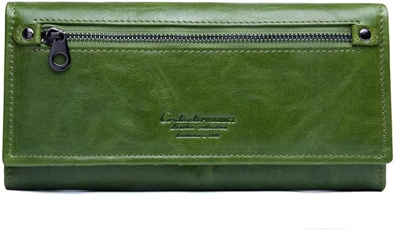 Women's Wallet Women's Executive Double Fold Leather Double Fold Wallet Multi Card Women's Clutch (color   Green)
