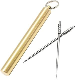 PPFISH Pocket Toothpick Holder Keychain - Waterproof Metal Toothpick Box Container & 2 Titanium Toothpick Ultralight Travel Kits (Brass)