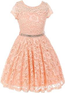 010bbeda109 Little Girl Cap Sleeve Lace Skater Stone Belt Flower Girls Dresses
